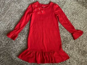 Lands' End Girls Red Twirl Dress Sz S 7/8 Long Sleeve NWOT