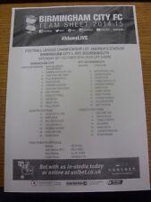 25/10/2014 teamsheet: Birmingham City V Bournemouth Bournemouth vincere [8-0]. Tutina