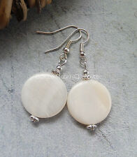 Off White/Ivory Cream Shell Disc Earrings SP Hooks Boho/Wedding/Holiday UK
