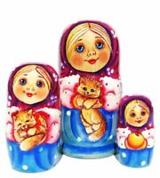 "Little Masha 3-piece Russian Stacking Set 4"" Nesting Doll"