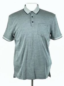 John Varvatos Star USA Mens Polo Shirt Sz Medium Gray 3 Button Pocket NEW $118
