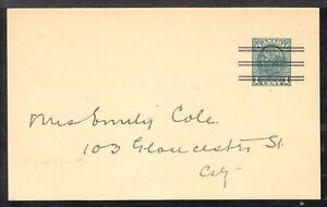 CANADA PRECANCELLED POST CARD #P62b 1c 1937 TORONTO ELECTION NOTICE