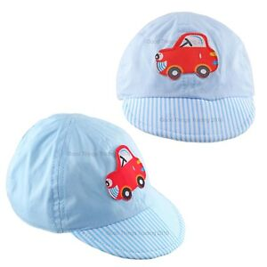 Baby Sun Hat Boys Cap Summer Beach Hat Cotton Blue Red Car Striped Brim 0-3 3-6M