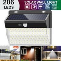 Lampada luce faretto faro esterno energia solare 206 LED sensore movimento