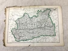 Antique Map Surrey County England 19th Century Old Hand Coloured