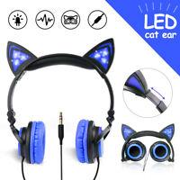 3.5mm Headphones Cat Ear Headset LED Glowing Light Foldable Headband Kids Gifts