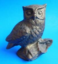 Heavy Vintage Cast Brass Perching Owl Bird Ornament Statue