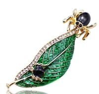 Leaf with Crystals and Big and Small Black Spider Vintage Gold Pin Brooch D-6628