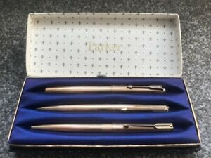 Vintage Parker 61-65 1/10th 12ct Rolled Gold Fountain Pen/Pencil/Ballpoint Set