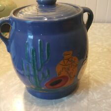 Vintage Blue Shawnee COOKIE JAR Southwestern Cold Paint Art Pottery w/ Cactus
