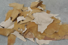 Lamb Scrap Leather Cream Crackle on Light Brown 1 lb Craft Pieces 3-4 oz