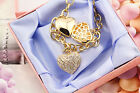 18K Gold GF Filigree Heart Pendants Charm Bracelet Bangle With SWAROVSKI CRYSTAL