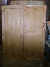 "Victorian reclaimed PAIR of four panel pine door wardrobe double doors 39"" x 50"""