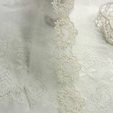 Vintage ST Embriodered Tulle Lace Trim Fabric Lovely Heart Flower 8.5cm Wide 1yd