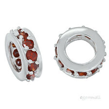 Sterling Silver Rondelle European Charm Spacer Bead 9mm w/ Garnet Red CZ #97210