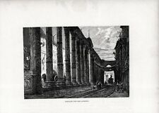 Stampa antica MILANO Colonne di San LORENZO 1880 Old print Engraving