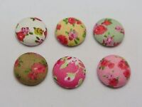 50 Mixed Color Flatback Fabric Flower Covered Buttons Round 15mm for Craft DIY