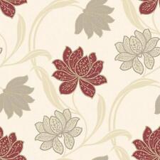 Grandeco Gabe Floral Pattern Wallpaper Flower Leaf Metallic Embossed Blown Red