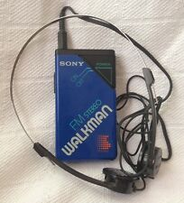 Vintage Sony SRF-20W FM Stereo Walkman Headphones Blue Working Tested Clip