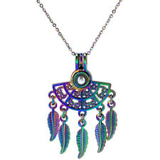 C1085 Rainbow Color Fan Shaped Bohemian Style Beads Cage Locket Pendant Chain