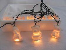 Vintage Porcelain Teddy Bear Christmas Lights - 10 White Bears on String Set