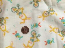 Vintage Cotton Flannel Fabric Remnant Bunny Rabbit Child Nursery Easter Unused