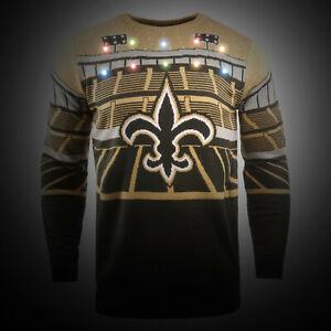 NFL Ugly Sweater New Orleans Saints Jumper LED Lighting Christmas Bluetooth