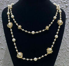 CC CHANEL Classic Vintage Milky White Pearl 14k Gold Plated Necklace