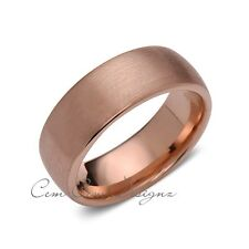 Rose Gold Tungsten Wedding Band - Brushed Rose Gold Tungsten Ring - 8mm - Mens R