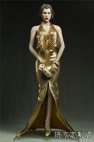 "Custom 1:6 Scale Golden Dress Clothing For 12"" Phicen Female Large Bust Body"