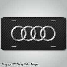 AUDI Aluminum License Plate Tag Simulated Carbon Fiber New