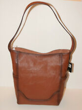 $348 FRYE Leather Side Pocket Hobo Shoulder Handbag Purse Brown Cognac