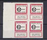 1971 STRIKE MAIL OSBORNE BELMONT & SUTTON POST 2/- MARGINAL BLOCK OF FOUR MNH b
