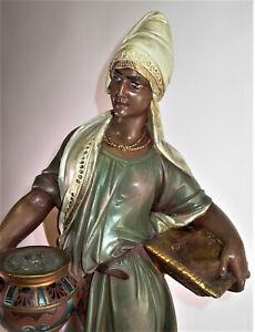- tolle antike ethnische Figur - AFRIKANERIN - H90cm - Siderolith um 1900
