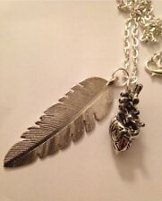 """Antique Silver Feather Heart My Savage Totem Pendant Chain 24"""" Necklace"""