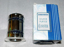 Windsor Collection Silver Plated Canister Lid Blue Plastic Liner Kitchen Storage