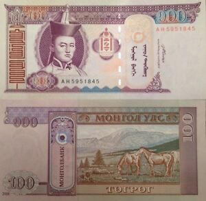 MONGOLIA 2008 100 TUGRIK (TOGROG) P-65 UNCIRCULATED BANKNOTE FROM A USA SELLER !