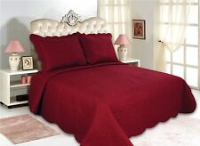 12-All For You 3PC quilt set, bedspread, and coverlet set-red/burgundy-5 Sizes