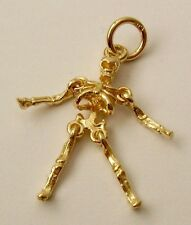 GENUINE SOLID 9ct Yellow GOLD 3D SKELETON, SKULL, BONES MOVEABLE CHARM/PENDANT