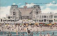 Postcard Hotel Dennis Beach Scene Atlantic City NJ 1946