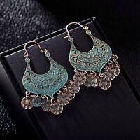 4 Pairs Women's Boho Bronze Earrings Wedding Party Engrave Drop Dangle Earrings