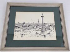 Nelson Column in Trafalgar Square 1970's Framed Lithograph By Bernard Smith