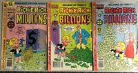 RICHIE RICH MILLIONS BILLIONS lot of (3) issues (1979-1982) Harvey Comics