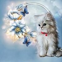 5D Cat Diamond Painting Cross Stitch Kit Needlework Rhinestone Mosaic Decor