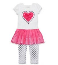 NWT FLAPDOODLES GIRLS SIZE 4T TWO PIECE HEART CHIFFON LASER CUT DRESS SET