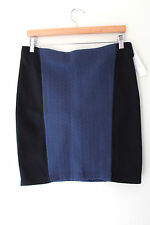 NWT Laundry by Shelli Segal Mood Indigo Color Block Blue Black Pencil Skirt 4