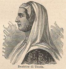 A6586 Beatrice di Tenda - Stampa Antica del 1924 - Xilografia