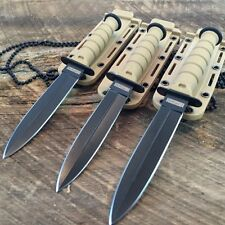 "3 LOT Wholesale YELLOW 6"" Double Edge Blade Kabai Neck Knife W/Chained Sheaths"
