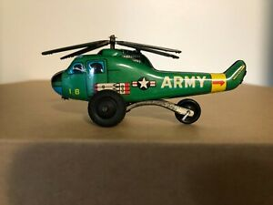 Tin Litho Army Helicopter Toy Made In Japan w/ Metal Blades