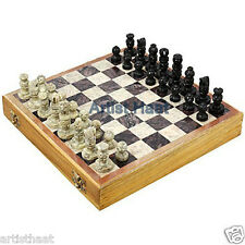 Artist Haat Handmade Stone Chess Pieces with Wooden Chess Box Mind Game